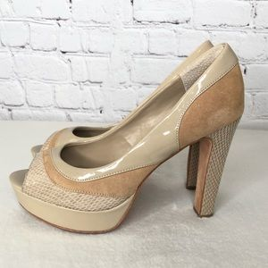 WHBM Tan Patent Suede Snake Heels Size 6.5M